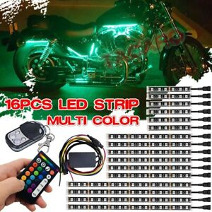 16pcs Multi Color Motorcycle Led Light Kit Under Glow Body Neon Strip For Honda