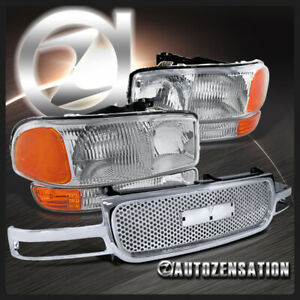 For 1999 2002 Gmc Sierra 1500 Clear Headlights bumper Lamps round Hole Grille
