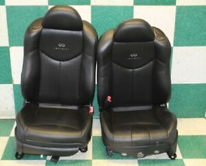 08 13 G37 Coupe Pair Left Right Black Leather Heated Power Track Bucket Seats