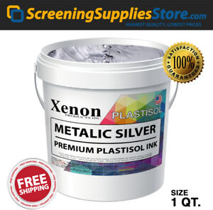 Xenon Metallic Silver Plastisol Ink For Screen Printing 1 Quart 32oz