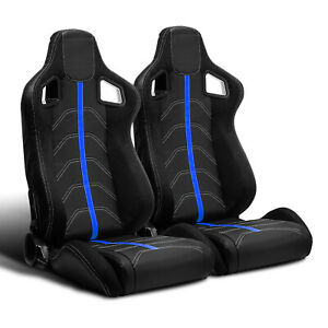 2 X Universal Jdm Black Pvc Leather blue Strip Left right Racing Bucket Seats