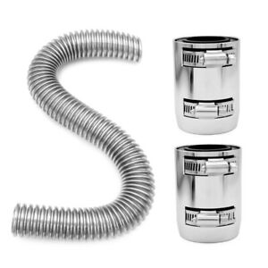 Stainless Steel Radiator Coolant Water Hose Kit With 2 Chrome Caps 48 Inch