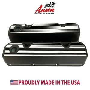Ford 351 Cleveland All Fins Valve Covers Black Powder Coat Finish