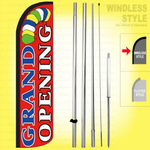 Grand Opening Windless Swooper Flag Kit 15 Feather Banner Sign Rz004 h