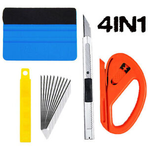 4pcs Squeegee Felt Kit Car Vinyl Wrap Application Tools 10 Blades Window Tint