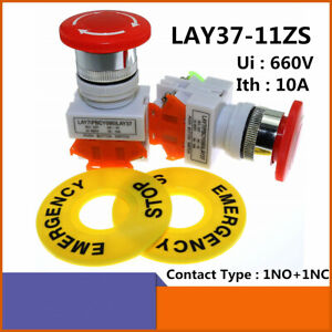Emergency Stop Pushbutton Switch Red Mushroom Cap 1no 1nc Switch Latching 22mm