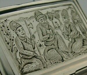 Stunning Persian Solid Silver Snuff Box C1900 Antique