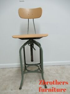 Vintage Toledo Industrial Tall Counter Swivel Bar Stool Chair E