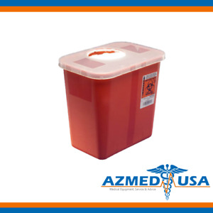 Kendall Sharps Disposal Biohazard Waste Container With Rotor Lid 2 Gallon