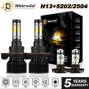 4x 4side Led Headlight H13 2504 Fog Lamp Bulb For Jeep Patriot Wrangler 11 19