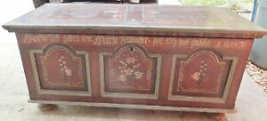 Antique 1803 Early Pennsylvania German Paint Decorated Blanket Dower Chest