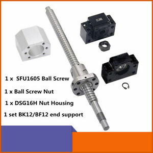 Cnc Ball Screw Set Sfu1605 With Nut L250 1500mm Bk bf12 Support Nut Housing