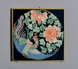 Unusual Antique 19th C Bird Chinese Silk Badge Tapestry Embroidery Robe Textile