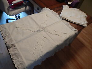 Pair Antique 1930s Cotton Hand Made Pillow Shams Case Lace Edge Grandma 29 X 35