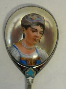Antique Russian Silver 88 Pictorial Enamel Spoon By Ivan Klhebnikov Circa 1889