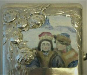 Antique Russian Silver 84 Pictorial Enamel Cigarette Case 182 Grams