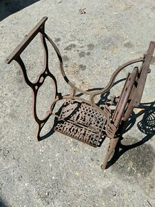 Antique New Home Treadle Sewing Machine Cast Iron Base Table