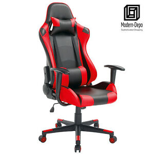 High back Swivel Gaming Chair Black Red Racing Ergonomic Office Desk Chair