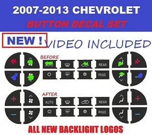 2007 2008 2009 Suburban Tahoe Avalanche Traverse Silverado A C Buttons Decals
