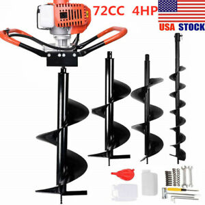72cc 2stroke Gas Post Hole Digger Earth Auger Petrol Powered Ground Drill 3bits