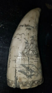 Vintage Faux Scrimshaw Whale Tooth With Ship Bearice 1787 Luch To Women Sun 6 In