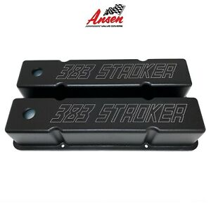 Small Block Chevy Sbc Tall 383 Stroker Laser Engraved Valve Covers Black