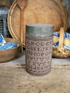 Antique Pantry Tin W Cross Stitch Alphabet Sampler Free Shipping