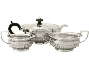 Sterling Silver Three Piece Tea Set Queen Anne Style Antique Victorian 992g