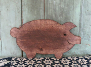 Primitive Pig Piggy Wooden Farmhouse Style Cutting Board Lots Of Wear