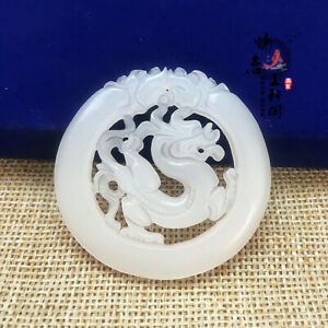 100 Chinese Natural Hand Carved White Jade Dragon Hollow Out Pendant Necklace