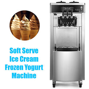 Commercial Stainless Soft Serve Ice Cream Frozen Yogurt Maker Machine 3 Flavor