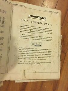 Mgtd Original Factory Spare Parts Book Believed Printed In 1960 S By Bmc