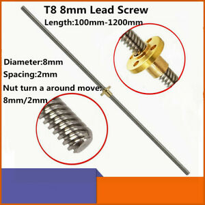100 1200mm T8 Lead Screw And Brass Nut 2mm Pitch 8mm Lead For 3d Printer Z Axis