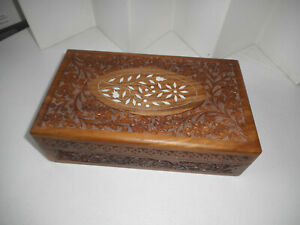 Vintage Trinket Jewelry Carved Wood Box Chest 6 X 10 India
