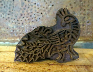 Primitive Farmhouse Wood Rooster Chicken Peacock Butter Mold Stamp Press