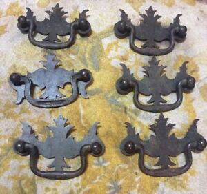 Six Vintage Brass Plated 3 Chippendale Drawer Pulls