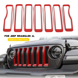 7x Front Grille Grill Inserts Cover Trim Kit Red For Jeep Wrangler Jl Sahara 18