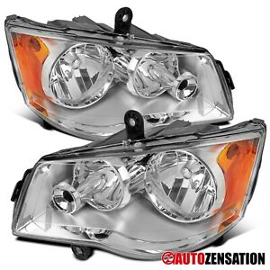 For 2011 2018 Dodge Grand Caravan Clear Lens Headlights Lamps Parking Pair