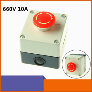 Red Sign Emergency Stop Switch Weatherproof Push Button Switch 660v 10a W Box