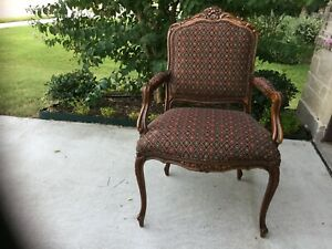 Beautiful Vintage French Provincial Upholstered Arm Chair