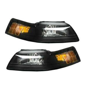Factory Style Headlights Headlamps For 1999 2004 Ford Mustang 2dr Black Housing