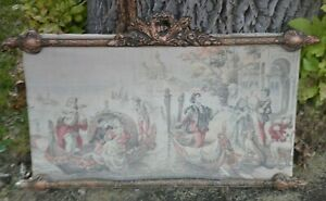 Antique Tapestry Venice Italy Boat Framed Vintage Art Large Wall Hanging Woven
