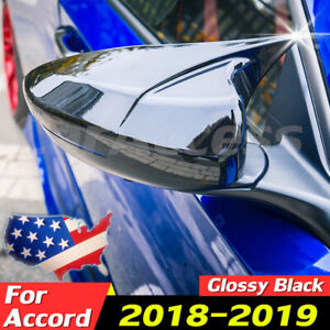 Pair For Honda Accord 2018 2019 Glossy Black Ox Horn Rear View Mirror Cover Trim