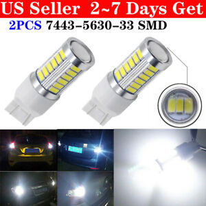 2x T20 White 7443 7440 33smd Tail Brake Stop High Power Led Bulbs 6000k 12v