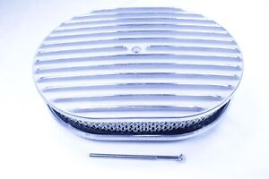 12 Oval Full Finned Polished Aluminum Classic Nostalgia Air Cleaner Chevy Ford