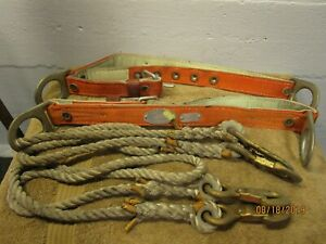 Vintage Pair Klein Tools Heavy Leather Pole Tree Climbing Belt Ropes Size L