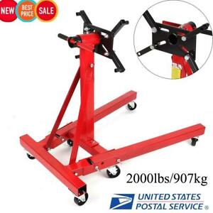 New Shop Engine Stand 2000lbs 907kg Foldable Hoist Automotive Lift Rotating