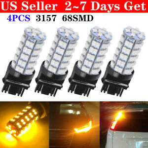 4pcs Amber Yellow 3157a 3457a 4157na 3157 68 Smd Parking Bulb Lamp Led Lights