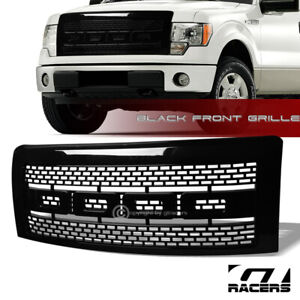 For 2009 2014 Ford F150 Glossy Blk Rp Style Mesh Front Hood Bumper Grille Guard