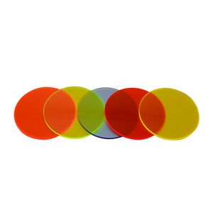 Circles Fluorescent Plastic Perspex Acrylic Discs Blue Orange Yellow Green Red